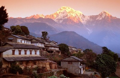 Nepal Photos: Ghandrung Village and Annapurna South, Nepal, Himalaya